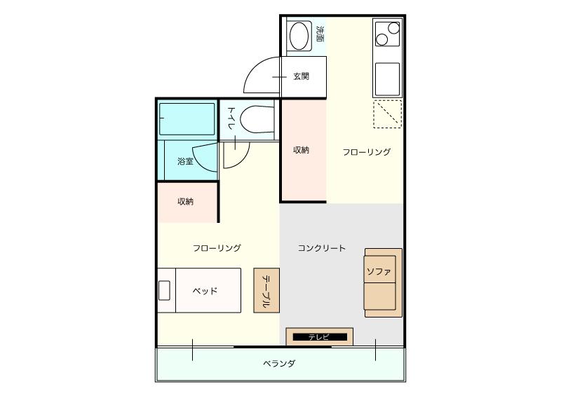 高知市北本町の賃貸物件間取り図